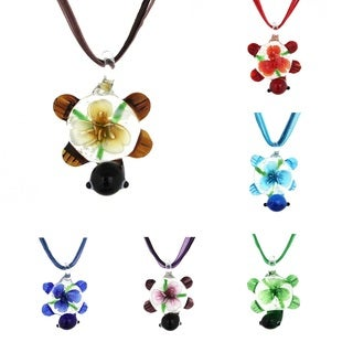 Bleek2Sheek Murano-inspired Glass 'Turtle and Flowers' Necklace