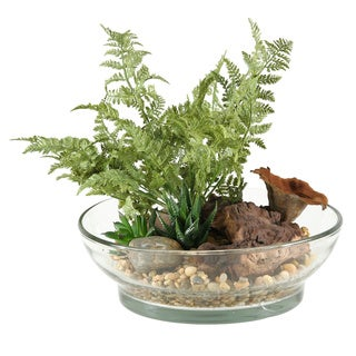 D&W Silks Small Forest Fern, Aloe and Mini Dracaena Heads in Glass Bowl