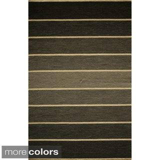Danville Ombre Stripe Reversible Flat Weave Wool Dhurry Area Rug (3'6 x 5'6)