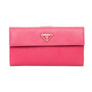 Prada Peony Saffiano Leather Triangle Wallet