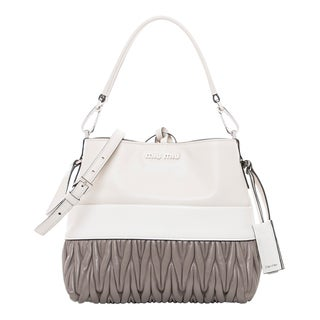 Miu Miu Vitello Matelas Grey Leather Shoulder Bag