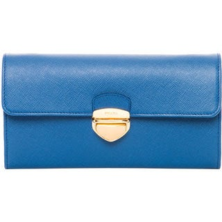 Prada Blue Saffiano Leather Buckle Wallet with Chain Strap