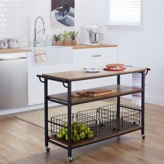 Lancashire Wood & Metal Kitchen Cart with 3 Metal Baskets