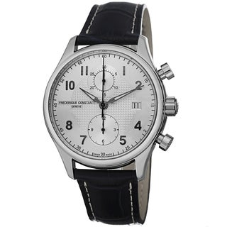 Frederique Constant Men's FC-393RM5B6 'RunAbout' Silver Dial Blue Leather Strap Chronograph Watch