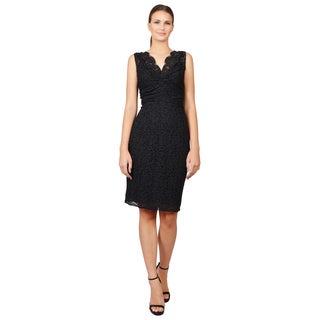 Dolce & Gabbana Women's Black Lace Overlay Sleeveless V-Neck Sheath Dress