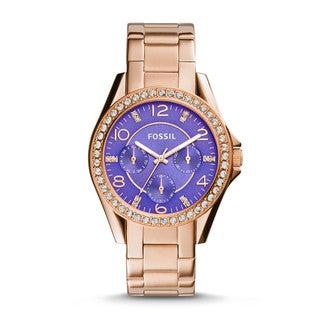 Fossil Women's ES3656 Riley Rose Goldtone Steel Purple Dial Gemstone Multifunction Watch