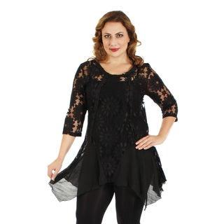 Women's Plus Size Black Floral Lace Lengthy Tunic