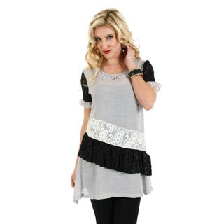 Firmiana Women's Black and Grey Lace Panel Short-sleeve Top