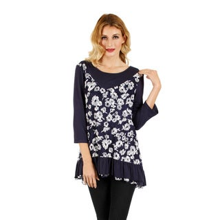 Women's Blue and White Floral Layered-look Blouse