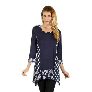 Women's Blue and White Dual Print Tunic