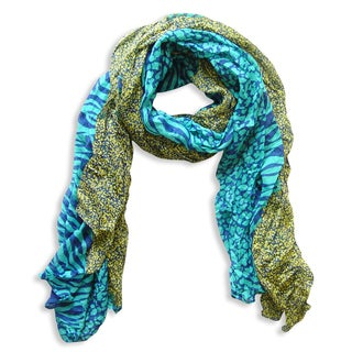 Peach Couture Teal Zebra and Leopard Mixed Print Scarf