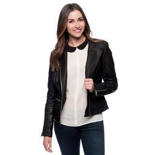 Kenneth Cole NY Black Faux Leather Moto Jacket