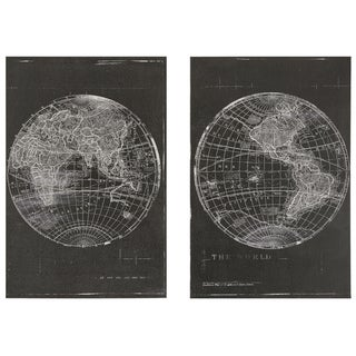 World Map Wrapped Giclee Print Canvas Wall Art (Set of 2)