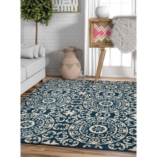 Well Woven Bright Trendy Twist Mediterranean Tile Scrolls Navy Blue Air Twisted Polypropylene Rug (7'10 x 10'6)