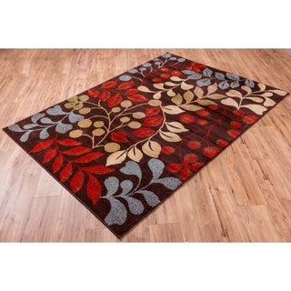 Well Woven Bright Trendy Twist Mysterious Vines Leaves Brown Air Twisted Polypropylene Rug (7'10 x 10'6)