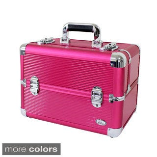 Jacki Design Aluminum Professional Make Up Train Case with Adjustable Dividers