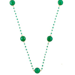 Alchemy Jewelry Green Onyx Necklace with 22k Gold Overaly