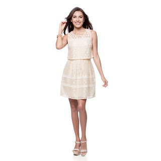 Jessica Simpson Missy Novelty Crop Top Overlay Lace Dress