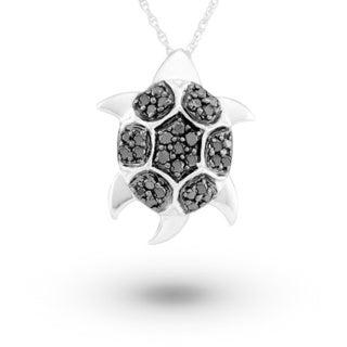 14k White Gold Black Diamond 0.23ct TDW Sea Turtle Pendant Necklace