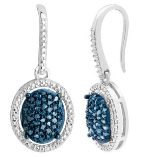 Sterling Silver 2/5ct TDW Blue Diamond Dangling Fashion Earrings