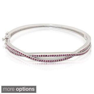 Sterling Silver Gemstone Criss-cross Bangle