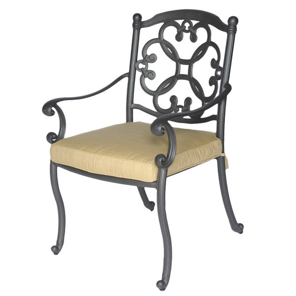 Somette Athens Cast Aluminum Outdoor Dining Chair And Cushion Overstock Sh