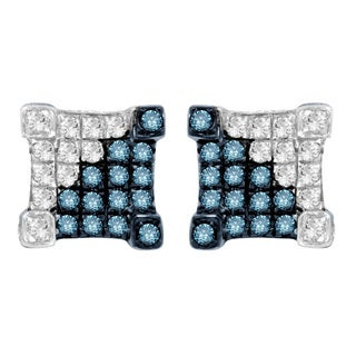 Sterling Silver Blue and White Diamond Accent Stud Earrings