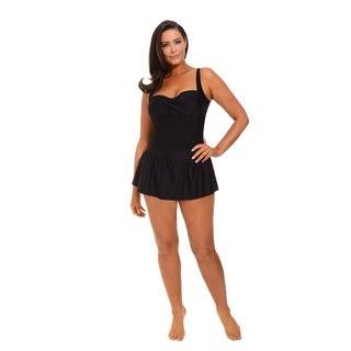 Solid Black Twist Front Swimdress
