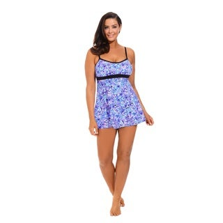 Purple Floral Banded Empire Swimdress