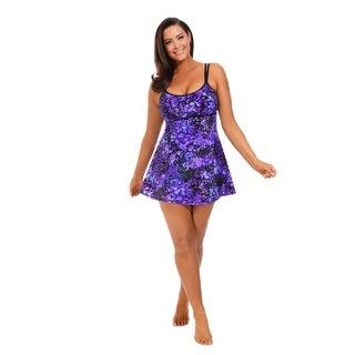 Purple Techno Floral Lingerie Swimdress