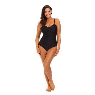 Solid Black Twist Front Bandeau Swimsuit