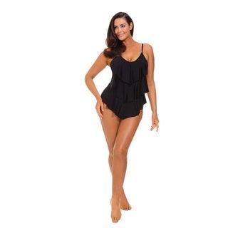 Solid Black Triple Tier Ruffle Swimsuit