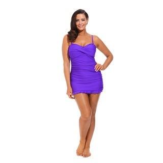 Purple Twist Front Bandeau Dress