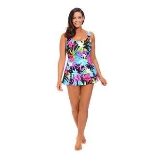 Aqua Floral Princess Seam Swimdress