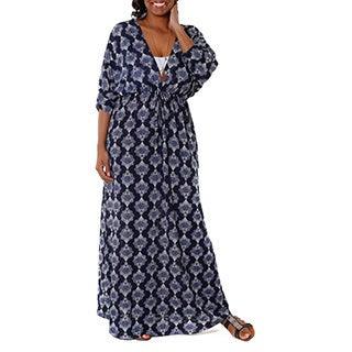 Hadari Women's Plus Casual Navy Maxi Dress