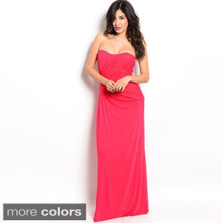 Shop The Trends Women's Ruched and Draped Strapless Long Dress