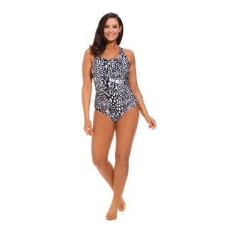 Black Feathery Animal Side Shirred Swimsuit
