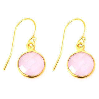 Gold Overlay Pink Gemstone Circle Drop Earrings