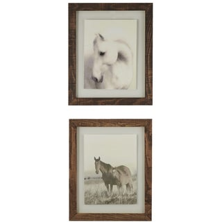 Horses Framed Giclee Print Wall Art with Glass (Set of 2)
