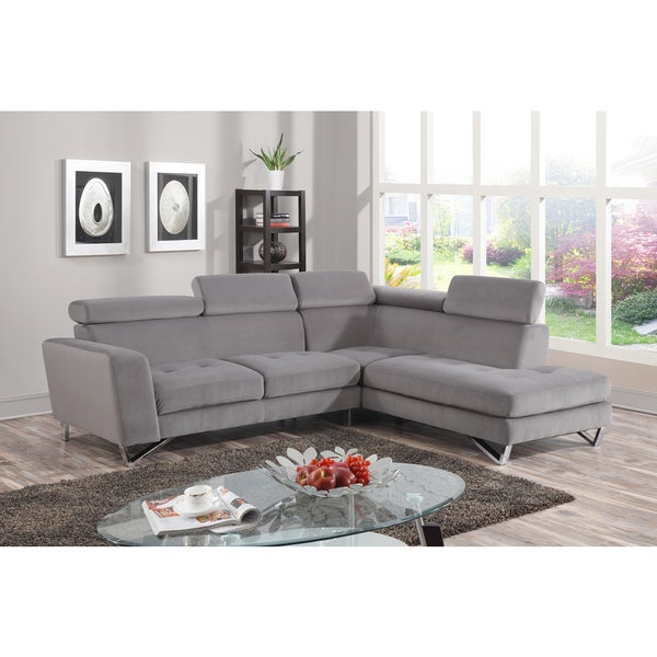 2pc Sectional Grey Microfiber Overstock Shopping Big Discounts On Sectional Sofas