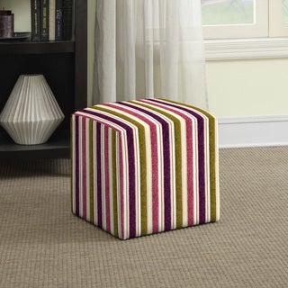 Portfolio Brayden Purple and Green Stripe Small Cube Ottoman