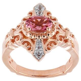 Dallas Prince Pink Tourmaline White Zircon Fleur-de-lis Scrollwork Ring