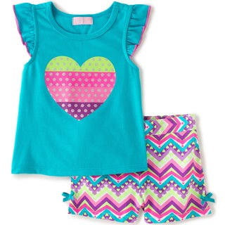 KHQ Infant Girl 2-piece Blue Knit/ Plaid or Twill Short Set