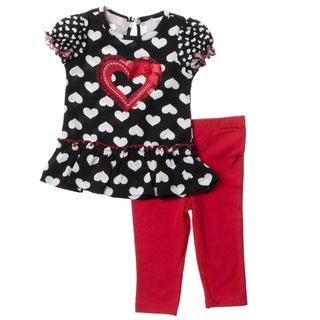 KHQ Infant Girl 2-piece Black Knit Capri Set