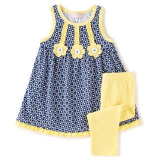 KHQ Toddler Girl 2 piece Navy/ Yellow Knit Capri Set