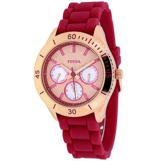 Fossil Women's ES3535 Stella Round Pink Silicone Strap Watch