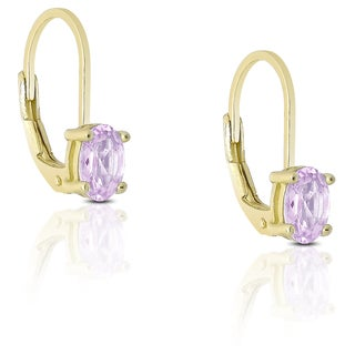 Dolce Giavonna Gold over Sterling Silver Gemstone Dangle Earrings