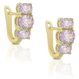 Dolce Giavonna Gold over Sterling Silver Gemstone Earrings