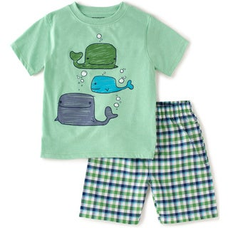 KHQ Toddler Boys Green Whale Graphic Tee and Plaid Short Set