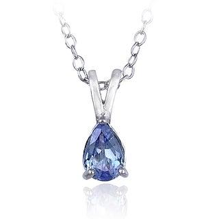 Glitzy Rocks Sterling Silver Tanzanite Solitaire Teardrop Necklace